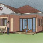 แบบบ้านชั้นเดียวหลังเล็ก 2 ห้องนอน หลังคาจั่วผสมปั้นหยา ออกแบบเรียบง่ายสำหรับที่ดินหน้าแคบ