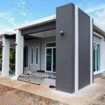 แบบบ้านแนวโมเดิร์นโทนขาวเทา 3 ห้องนอน รูปทรงทันสมัย ภายในสวยงามพร้อมความโปร่งโล่ง