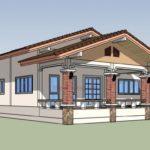 แบบบ้านชั้นเดียวหลังคาซ้อนชั้น 3 ห้องนอน 1 ห้องน้ำ ออกแบบสำหรับสภาพแวดล้อมชนบท