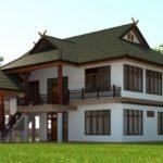 แบบบ้านสองชั้นทรงไทยร่วมสมัย สำหรับครอบครัวใหญ่ เข้ากับสภาพแวดล้อมแบบชนบท