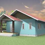 แบบบ้านคอทเทจโทนสีสดใส ออกแบบเรียบง่าย ลงตัวสำหรับครอบครัวที่มีสามคน (พ่อแม่ลูก)