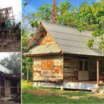 สร้างบ้านไม้หลังน้อยมีเฉลียง ใช้ไม้จากบ้านเก่า สวยเรียบง่าย ได้อารมณ์ดิบ