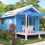 บ้านกระท่อมโทนสีฟ้า โครงสร้างเหล็ก ออกแบบกะทัดรัด เพื่อการพักผ่อนโดยเฉพาะ