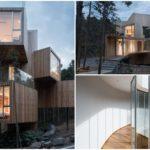 บ้านตากอากาศท่ามกลางเนินเขา ดีไซน์กล่องซ้อนชั้น รูปแบบแปลกตา ตกแต่งด้วยงานไม้ และกระจก