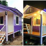 แบบบ้านหลังน้อยยกพื้นต่ำ โทนสีม่วงสดใส ให้ความรู้สึกอบอุ่นใจ ไซส์เล็กสำหรับอยู่ 1 – 2 คน