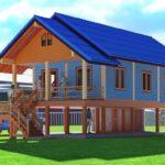 แบบบ้านคอทเทจยกพื้นสูง สีฟ้าสดใส เข้ากับวิถีชีวิตและความเป็นอยู่ในชนบท