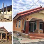 ก่อสร้างบ้านชั้นเดียวสไตล์ทรงจั่วชนบท 3 ห้องนอน 1 ห้องน้ำ พร้อมชานนั่งเล่นหน้าบ้าน