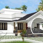 แบบบ้านชั้นเดียวพร้อมดาดฟ้า โดดเด่นด้วยซุ้มวงกลม 3 ห้องนอน 2 ห้องน้ำ