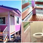 บ้านหลังน้อยสีชมพู สำหรับอยู่อาศัย 1-2 คน ตกแต่งดีไซน์อ่อนหวานน่ารัก