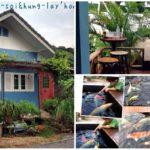 พาชม บ้านหลังน้อยสีฟ้าน่ารัก พร้อมระเบียงชมบ่อปลาแสนสวย ให้บรรยากาศของธรรมชาติที่สดชื่น