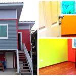 บ้านโครงเหล็กสองชั้นทรงสูง มีพื้นที่ใช้สอยใต้ถุน สร้างได้ในพื้นที่แคบๆ