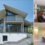 บ้านสองชั้นยกพื้นสูง สไตล์โมเดิร์นหลังคาปีกนก สวยงามและภูมิฐาน ในรูปทรงและวัสดุ