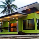 บ้านโมเดิร์นชั้นเดียว โทนสีเขียวสุดแจ่ม พร้อมเฉลียงกว้าง งบประมาณ 5 แสนนิดๆ (1 ห้องนอน 1 ห้องน้ำ)
