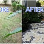 DIY ปูพื้นอิฐบล็อคในสวนหลังบ้านด้วยตัวเอง เปลี่ยนสวนว่างๆ ให้สวยงาม ในงบไม่เกิน 3,500 บาท