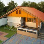 บ้านสไตล์ร่วมสมัย ขนาดกะทัดรัด โดดเด่นด้วยหลังคาสีส้มทอแสง พร้อมชานบ้าน และพื้นที่พักผ่อนแบบจุใจ