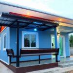 บ้านหลังน้อยเรียบง่าย สไตล์โมเดิร์น โทนสีฟ้าสดใส งบประมาณก่อสร้าง 540,000 บาท