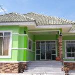 บ้านชั้นเดียวสไตล์รว่มสมัย โทนสีเขียวสดชื่น 3 ห้องนอน 1 ห้องน้ำ งบก่อสร้าง 900,000 บาท