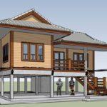 แบบบ้านไทยประยุกต์ยกพื้นสูง พร้อมใต้ถุนโปร่ง โครงสร้างไม้ผสมคอนกรีต อบอุ่นในแบบดั้งเดิม