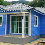แบบบ้านชั้นเดียวดีไซน์น่ารัก โทนสีฟ้าสดใส ในขนาดกะทัด 2 ห้องนอน 1 ห้องน้ำ