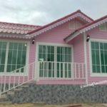 แบบบ้านชั้นเดียว สีชมพูหวานแหวว น่ารัก ดูละมุน 2 ห้องนอน 1 ห้องน้ำ งบประมาณก่อสร้าง 650,000 บาท