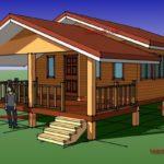แบบบ้านไม้ยกพืนต่ำ สไตล์ไทยประยุกต์ 1 ห้องนอน 1 ห้องน้ำ สร้างได้ด้วบงบราว 600,000 บาท