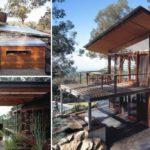 บ้านไม้สไตล์รีสอร์ท ทำจากวัสดุรีไซเคิล พร้อมพื้นที่เปิดโล่งมองเห็นวิวธรรมชาติได้อย่างถนัดตา