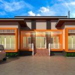 แบบบ้านชั้นเดียว สไตล์โมเดิร์น โทนสีส้มโดดเด่น 3 ห้องนอน 2 ห้องน้ำ งบก่อสร้าง 1.49 ล้านบาท