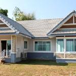 แบบบ้านคอนเทมโพรารี สีฟ้าอ่อนหวานละมุน 2 ห้องนอน 2 ห้องน้ำ เหมาะสำหรับครอบครัวเริ่มต้น