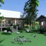 แบบบ้านสวนยกพื้นพร้อมเรือนพักผ่อน 2 ห้องนอน 2 ห้องน้ำ จัดไว้อย่างเป็นสัดส่วน เพื่อการพักผ่อนอย่างเต็มที่