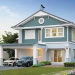 แบบบ้านสองชั้น สไตล์คอทเทจ โทนสีฟ้าขาวละมุน อบอุ่นตั้งแต่ภายนอกไปจนถึงภายใน