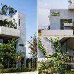 บ้านโมเดิร์นคอนกรีตเปลือย แทรกต้นไม้ผสมกลมกลืนไปกับโครงสร้าง เติมบรรยากาศสีเขียวให้กับวิถีชีวิตคนเมือง