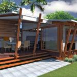 แบบบ้านพักตากอากาศ 2 ห้องนอน ตกแต่งโครงสร้างด้วยงานไม้ พร้อมเฉลียงพักผ่อนใต้ชายคา