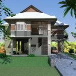 แบบบ้านยกพื้นสองชั้น 5 ห้องนอน 3 ห้องน้ำ พร้อมพื้นที่โล่งว่างใช้งานอเนกประสงค์ 270 ตารางเมตร