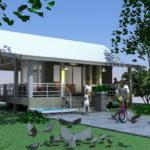 แบบบ้านสวนชั้นเดียว ขนาดกะทัดรัด 1 ห้องนอน 1 ห้องน้ำ ตกแต่งเรียบง่ายเน้นใช้โทนสีเย็น เหมาะสมกับสภาวะโลกร้อน