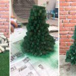 """DIY เปลี่ยนกองแกนกระดาษทิชชู่ ให้กลายเป็น """"ต้นคริสมาสต์"""" สำหรับตกแต่งงานปาร์ตี้สังสรรค์"""