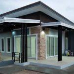 บ้านชั้นเดียวสไตล์โมเดิร์น 2 ห้องนอน 1 ห้องน้ำ พื้นที่ใช้สอย 95 ตรม. งบประมาณก่อสร้าง 850,000 บาท (ก่อสร้างที่จังหวัดร้อยเอ็ด)