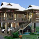 แบบบ้านสองชั้นทรงไทยประยุกต์ พร้อมใต้ถุนเอนกประสงค์ 2 ห้องนอน 2 ห้องน้ำ พื้นที่ใช้สอย 120 ตรม.