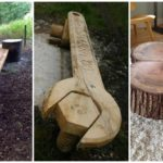 """34 ไอเดีย """"ม้านั่งจากไม้ซุง"""" เน้นความเป็นธรรมชาติ เพิ่มชีวิตชีวาให้สวนหลังบ้าน"""