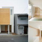 แบบบ้านทาวน์โฮมจากญี่ปุ่น ก่อสร้างบนที่ดินหน้าแคบ ตกแต่งผนังส่วนหน้าด้วยไม้ แฝงไปด้วยความเรียบง่ายสไตล์มินิมอล