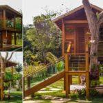 กระท่อมไม้ยกพื้นสูงในสวนหลังบ้าน ขนาดเล็กน่ารัก สร้างพื้นที่เติมเต็มจินตนาการให้กับลูกรักตัวน้อย