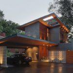 บ้านสองชั้นสไตล์โมเดิร์น ออกแบบด้วยโทนสีสงบและอบอุ่น พร้อมพื้นที่นั่งเล่นกลางแจ้ง