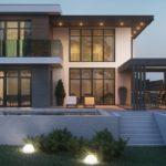 แบบบ้านโมเดิร์นสองชั้น ออกแบบพร้อมห้องรับประทานอาหารนอกบ้าน และสระว่ายน้ำส่วนตัว