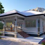 แบบบ้านชั้นเดียวรูปทรงร่วมสมัย ออกแบบเรียบง่าย ขนาด 2 ห้องนอน 1 ห้องน้ำ