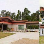 แบบบ้านสไตล์คอนเทมโพรารี ตกแต่งสวยงามทั้งภายในและภายนอก ก่อสร้างบนเนื้อขนาด 200 ตารางเมตร