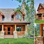 แบบบ้านไม้สองชั้นสไตล์รัสติค ดีไซน์โดดเด่นสะดุดตา ผสมผสานระหว่างงานไม้และผนังลายหินธรรมชาติ