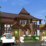 แบบบ้านทรงไทยประยุกต์ ขนาดสองชั้น 2 ห้องนอน 2 ห้องน้ำ พร้อมพื้นที่ใช้สอย 196 ตารางเมตร