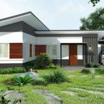 บ้านเดี่ยวชั้นเดียวสุดเรียบง่าย สไตล์โมเดิร์นหลังคาลาดเอียง 2 ห้องนอน 2 ห้องน้ำ พื้นที่ใช้สอย 58 ตารางเมตร