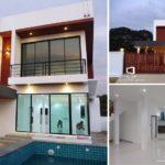 บ้านสองชั้นสไตล์โมเดิร์นลอฟท์ โทนสีขาว รูปทรงกล่องสี่เหลี่ยม พร้อมสระว่ายน้ำขนาดพอเหมาะ