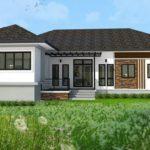 แบบบ้านชั้นเดียวสไตล์คอนเทมโพรารี่ ออกแบบด้วยรูปทรงตัวแอล ขนาด 3 ห้องนอน 3 ห้องน้ำ
