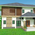 แบบบ้านสองชั้นสไตล์คอนเทมโพรารี่ 5 ห้องนอน 4 ห้องน้ำ พร้อมพื้นที่ใช้สอยกว้างขวางถึง 239 ตารางเมตร